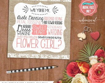 """Ask FlowerGirl Card """"Burlap Lace"""" (Printable File Only) Be In Our Wedding, Wedding Party Card, Ask Flower Girl, Flowergirl, Be In My Wedding"""