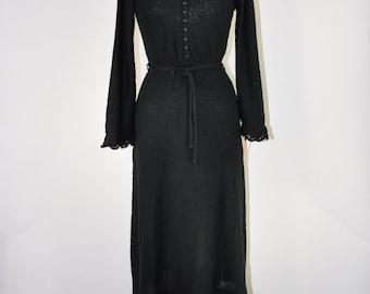 70s black knit dress / 1970s sweater dress / boucle jersey knit dress