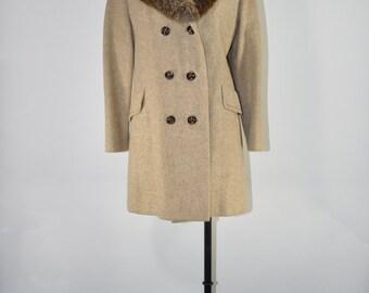 70s tweed pea coat / 1970s fur collar coat / vintage wool tweed coat