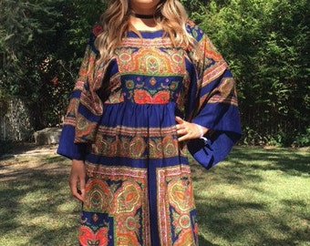 Maxi dress, royal blue paisley, long dress, butterfly sleeves, 1970s, medium