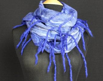 Merino Wool Silk Blend Cobweb Felted Scarf with wool fringe - Ocean Blue (70/30 merino silk)