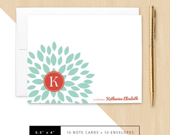 Flat or Folded Note Cards // Set of 10 // Teal Blooming Blossom with Red Circle Monogram Initial & Name // Personalized Stationery // S100-1