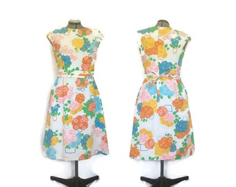 1960s Dress, Vintage Malia Honolulu Dress, Cotton Sundress, Flower Pot Dress, Shift Dress, A-Line Dress, Mod Dress, Volup
