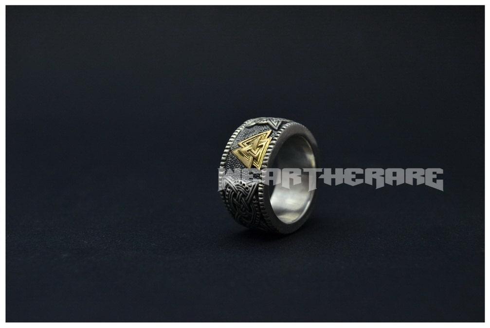 valknut viking norse ring scandinavian mens ring - Norse Wedding Rings