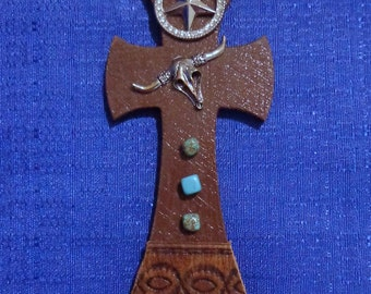 Southwest Wooden Cross Magnet, Handmade Cross,Turquoise Cross,Western Cross,Southwest Cross,Refrigerator Magnet