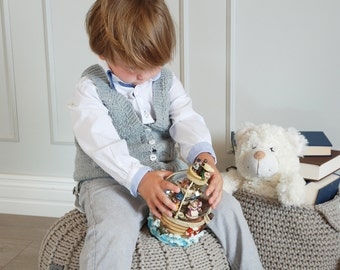 Beige cotton floor pouf ottoman knitted pouf knit pouf nursery decor, knitted ottoman footstool nursery pouffe baby pouffe ZURI