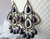 Large Purple Satin  Boho Chandelier Earrings, Green Bohemian Hoops, Large Boho Dangles, Boho Chic Jewelry, Gypsy Jewelry