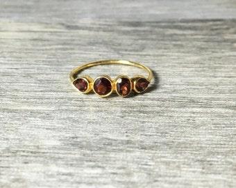 Garnet 14K Rose Gold Gemstone Ring, Ready to Ship, size 6.75, Slim band
