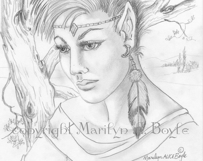 ORIGINAL DRAWING - FANTASY; pencil, graphite, elf maid, wall art, feather,