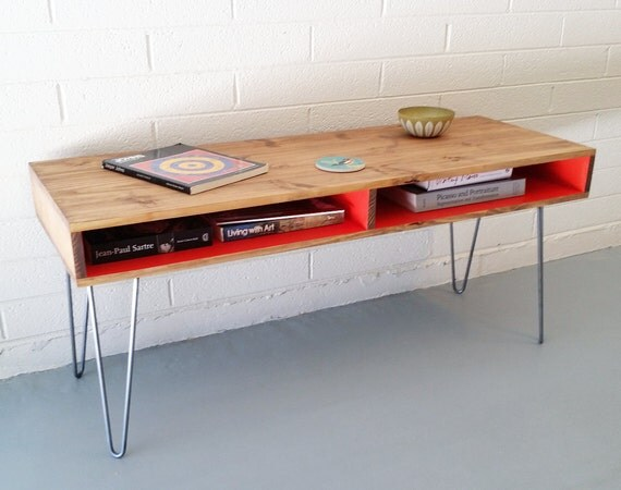 Mid-Century Modern Wood Coffee Table Hairpin Legs by ...