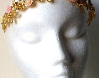 Golden metal with flowers Crown
