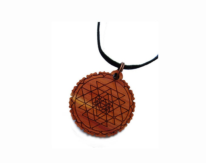 SRI YANTRA Pendant necklace carved on cedar wood