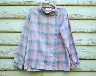 80s Vintage Pastel Pink Grey Checkered Shirt Plaid Grunge Blouse Avant Garde Vtg 1980s Size M-L