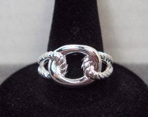 Silver Plated Nautical Knot Looped Ring (Size 8.5)