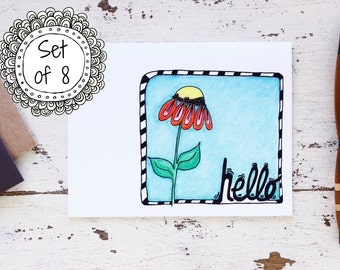 Hello Stationery Set of 8 Cards - All Occasion Cards - Thinking of You - Hello Card - Just Because - 201501061252