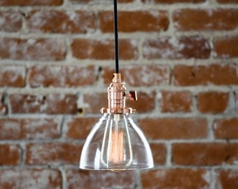 Free Shipping! Industrial Pendant Light Copper Glass Bell Cone Shade Round Plug In or Canopy Kit Black Brown White Red Zig Zag Houndstooth