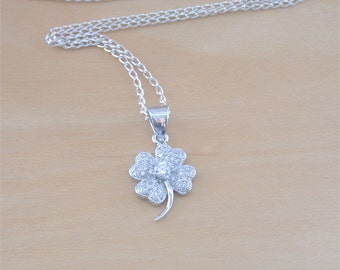 """925 Cz Crystal Shamrock Pendant with 18"""" Chain/Four Leaf Clover Necklace/Silver Clover Jewelry/Shamrock Jewellery/Crystal Clover Necklace"""