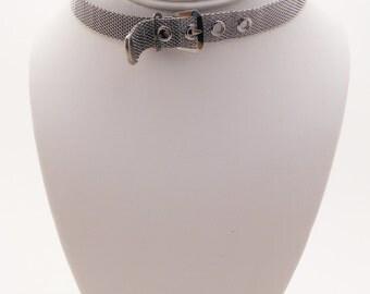 Vintage Mesh Belt Buckle Necklace