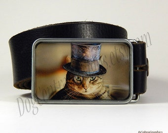 Cat Belt Buckle Steampunk Sophisti Cat Belt Buckle wearing Top Hat and Monocle Boyfriend Gift Girlfriend Gift Birthday