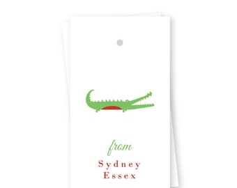 Personalized Birthday Gift Tags, Preppy Alligator, Set of 10