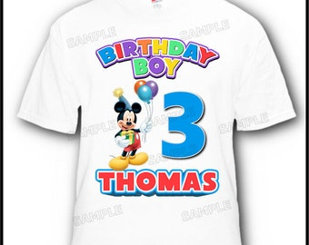 Personalized Happy Birthday Mickey Mouse with Balloons T-Shirt