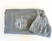 Monogram Comfort Color Pocket Tee - Monogram Shirt - Monogrammed Clothing - Long Sleeve Monogram Shirt - Preppy Initial Tee