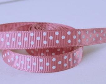 "Mauve Pink White Mini Polka Dots Printed Grosgrain Ribbon 3/8"" wide Scrapbooking HairBows Parties DIY Projects az569"