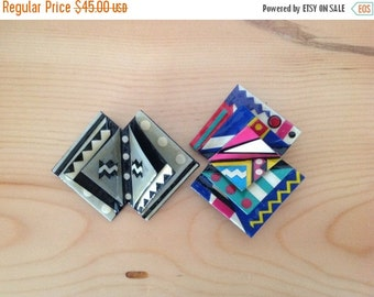 Origami Brooches.  One Bkack & White and one Colorful.