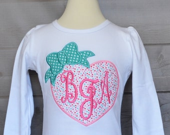Personalized Valentine's Day Heart with Bow Applique Shirt or Onesie Girl or Boy