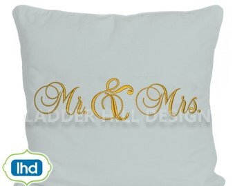 Mr.  and Mrs. Wedding Applique Monogram Embroidery Design WED001