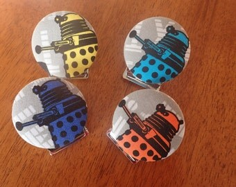 Darlek Magnet Clips/ Doctor Who Darlek Fabric Button Magnets/Fathers Day Gift