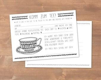 Post card 30: Come to tea! Invitation
