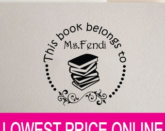 This Book Belongs to - From the library of-Custom Stamp -handmade Stamp - teacher stamp-classroom stamp-custom Rubber Stamp R407