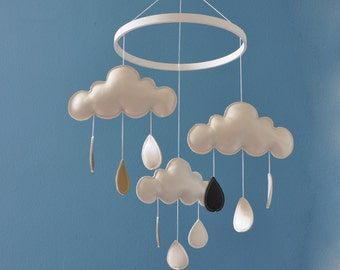 Crib mobile / Baby mobile / Nursery decor - Rainy clouds - WHITE