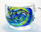 Ocean Waves Gift Mug, Large Coffee Mug, Beach Gift, Sea Tea Cup Glass Tea Mug, Gift for surfer