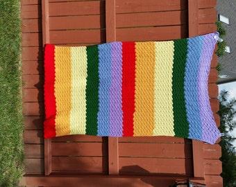 Vintage Rainbow Afghan Colorful Striped Afghan Rainbow Blanket Multicolor Afghan Colorful Afghan Rainbow Throw Colorful Blanket 1980s Afghan