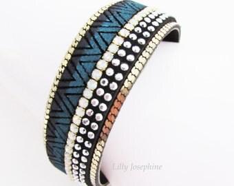 Navy Blue Aztec Design Cuff, Blue Crystal Cuff Bracelet, Blue Leather Cuff, Navy Leather Cuff Bracelet, Magentic Cuff, Aztec Cuff Bracelet