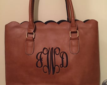 Personalized, Monogrammed Bag, Scalloped Monogrammed Leather Purse