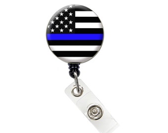 Thin Blue Line ID Badge Nurse Retractable Badge Reels/ ID Badge Holder