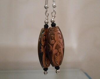 Long Oval Bronze Earrings Item No. 158