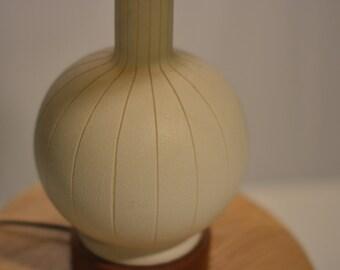 Danish Modern Ceramic and Walnut Lamp