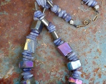 Rainbow Stone Choker Style Necklace, Iridescent Agate, Pyrite and Iolite Gemstones, Rustic, Faery, Natural Cosmic Rocks, Other Worldly