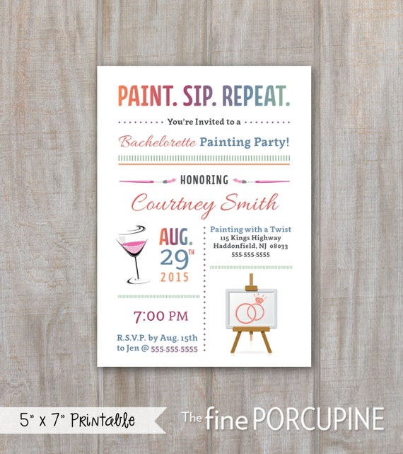 Painting party invites wine and painting by thefineporcupine for Wine paint party