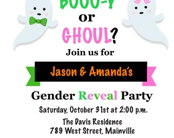 Halloween Gender Reveal Invitation - Printable or Printed with FREE SHIPPING