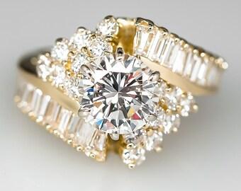 Vintage Diamond Engagement Ring –1.8 Carat Round Brilliant Diamond 18K Yellow Gold Engagement Ring CN9928