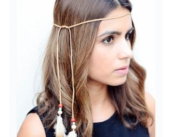 THE MEDA - Tan Tribal Side Feather Headband, Boho, Hipster, Festival, Feather Headdress, Native American Headdress Pocahontas Suede Beads