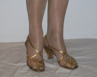Gorgeous 1940s gold peep toe strappy glamour heels US 6 1/2 UK 4 1/2 vintage bride