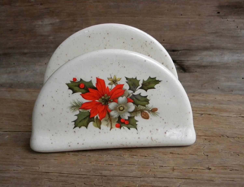 Vintage ceramic christmas napkin holder poinsettia
