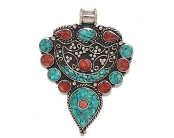 Coral Pendant Turquoise Pendant Nepal Pendant nepalese pendant Tibetan Pendant Tibet pendant boho pendant gypsy pendant tribal pendant PB19