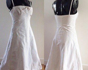 Vintage Cacharel White Cotton Summer Dress Small UK 8